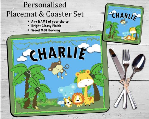 Personalised Kids Table Placemat & Coaster Set N35 - Jungle Design